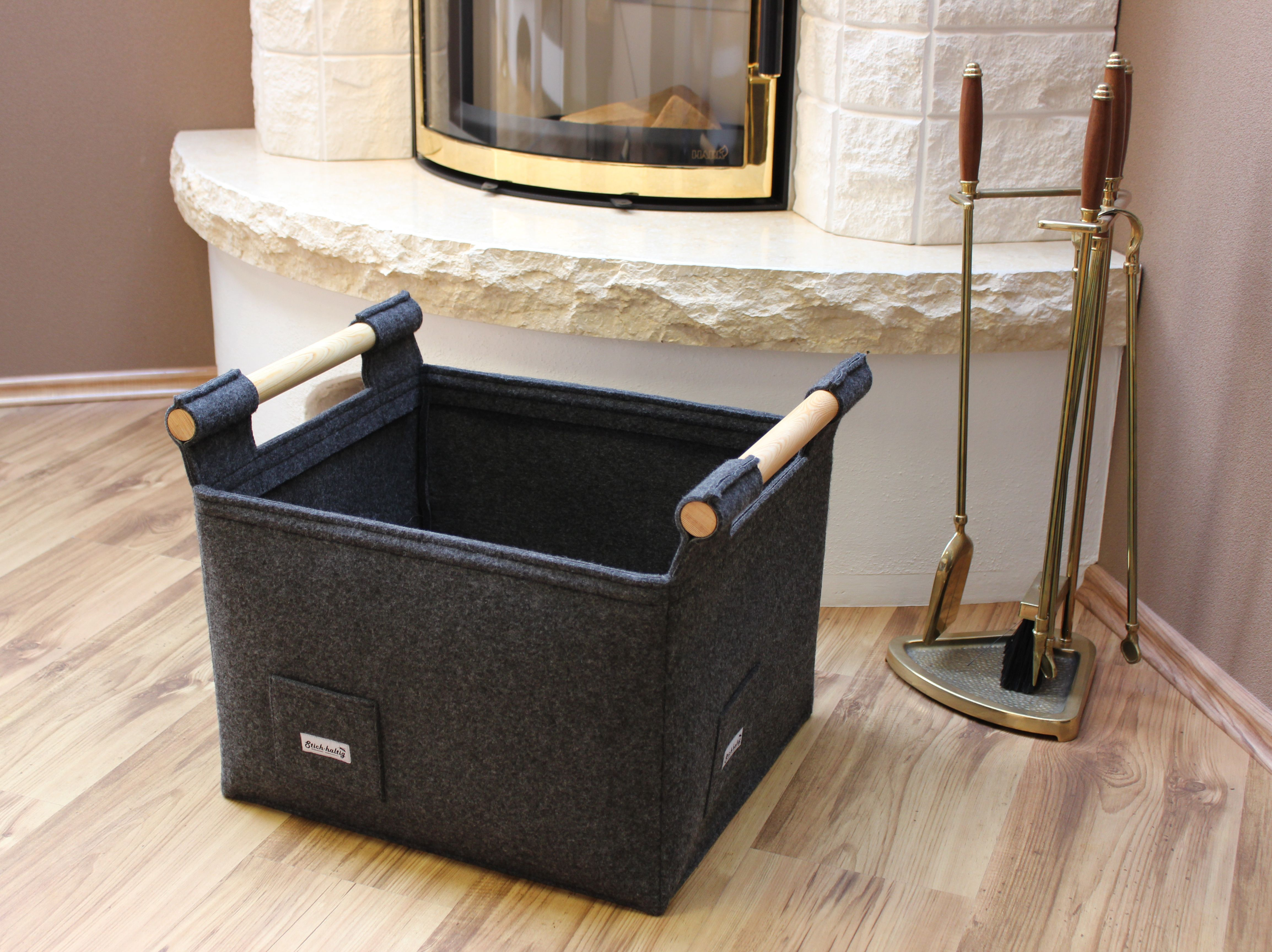 designer kaminholzkorb aus filz f r deinen kamin kamin kaminholz filzkorb stichhaltig felt. Black Bedroom Furniture Sets. Home Design Ideas