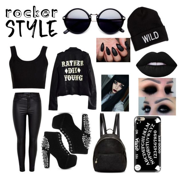 """""""rocker style"""" by queensprings010 ❤ liked on Polyvore featuring Calvin Klein Collection, High Heels Suicide, Jeffrey Campbell, STELLA McCARTNEY, American Eagle Outfitters, Casetify, Lime Crime, rockerchic and rockerstyle"""