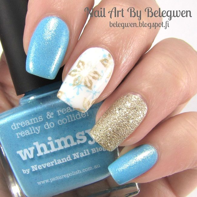 Nail Art By Belegwen: Picture Polish Whimsy, Gina Tricot White and Lumene Sandy Brook