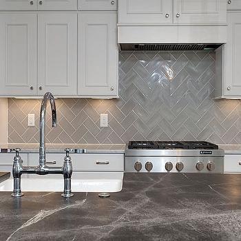 Gray Chevron Kitchen Backsplash Tiles, Transitional, Kitchen ...