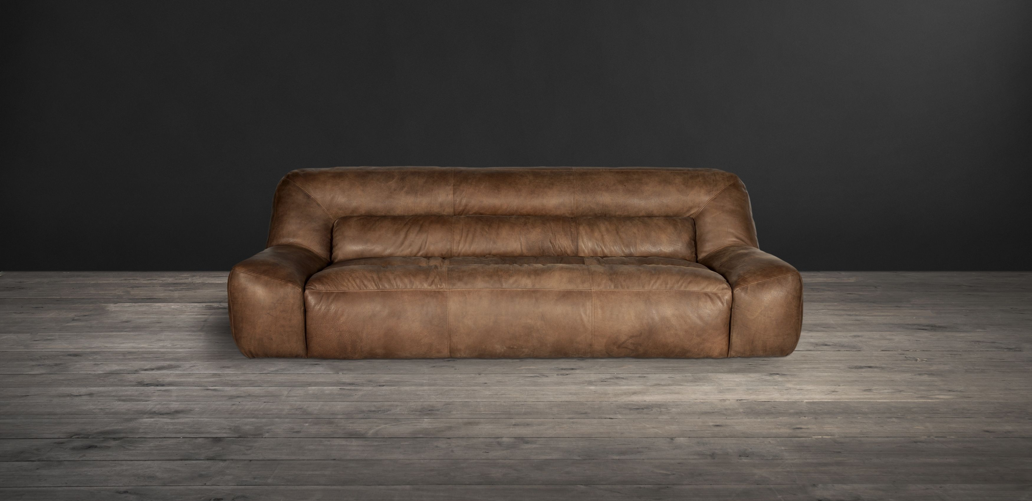 The Soft And Squidgy Yet Ever So Cool Bendum Sofa Is Outed In Rich Vintage Looking Leather Daringly Distinctive Furniture By Timothy Oulton