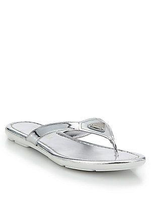 f8d9903f2 Prada Logo Metallic Leather Thong Sandals