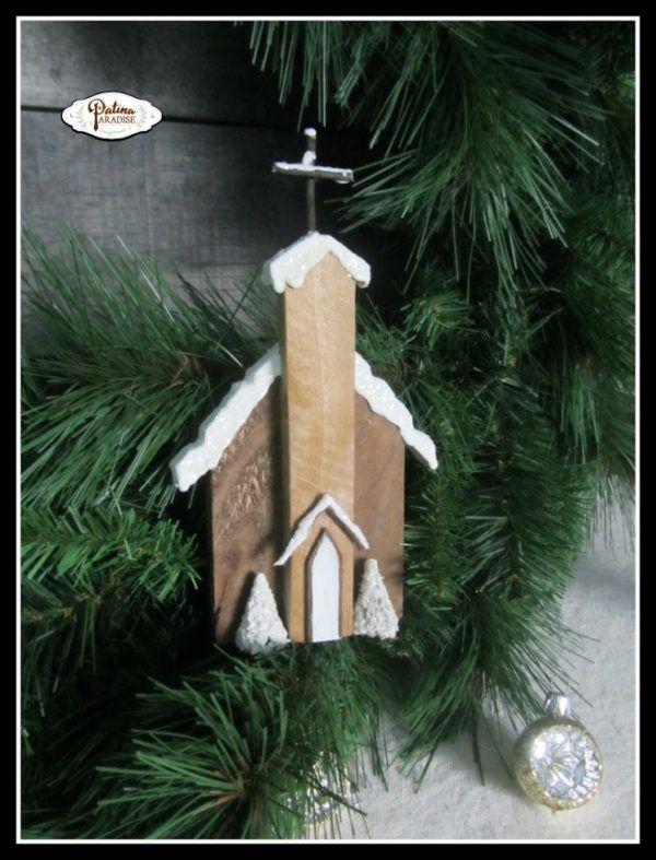 Rustic pallet church Christmas ornaments. More DIY ornament ideas on DuctTapeAndDenim.com