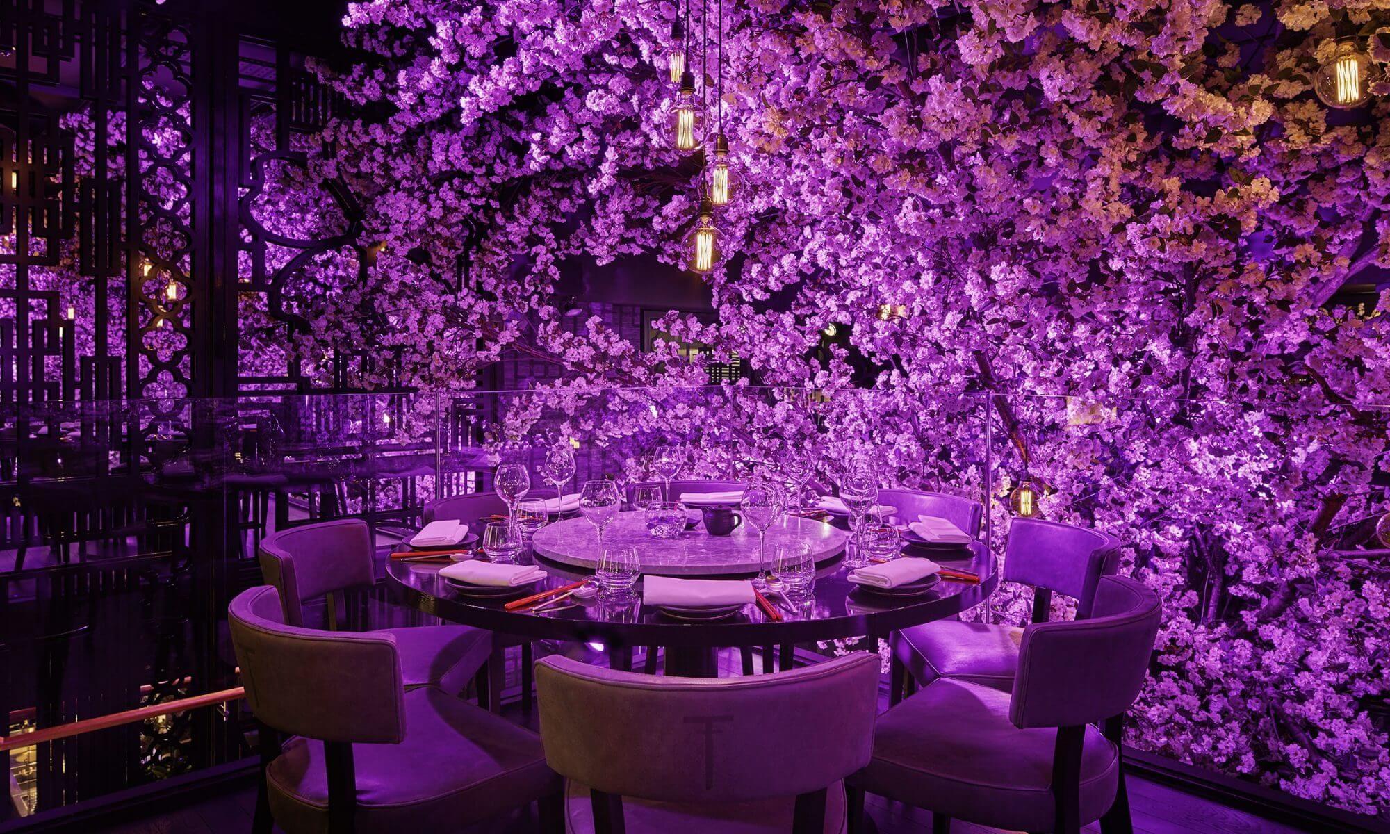 Tattu Restaurant And Bar Leeds Tattu Blossom Trees Bar Design Restaurant Restaurant Interior Design