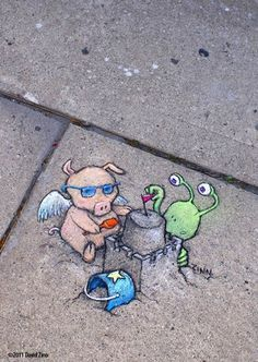 Chalk Street Art – 30 adorable creations by David Zinn – Ego – AlterEgo