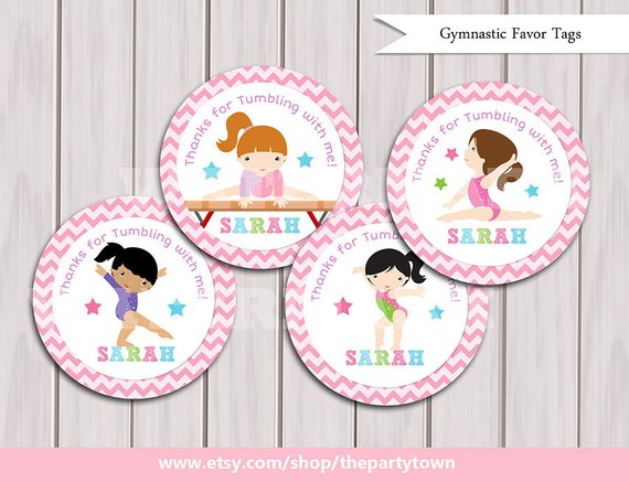 Gymnastic Favor Tags Birthday Printables Party Printable DIY Girlie