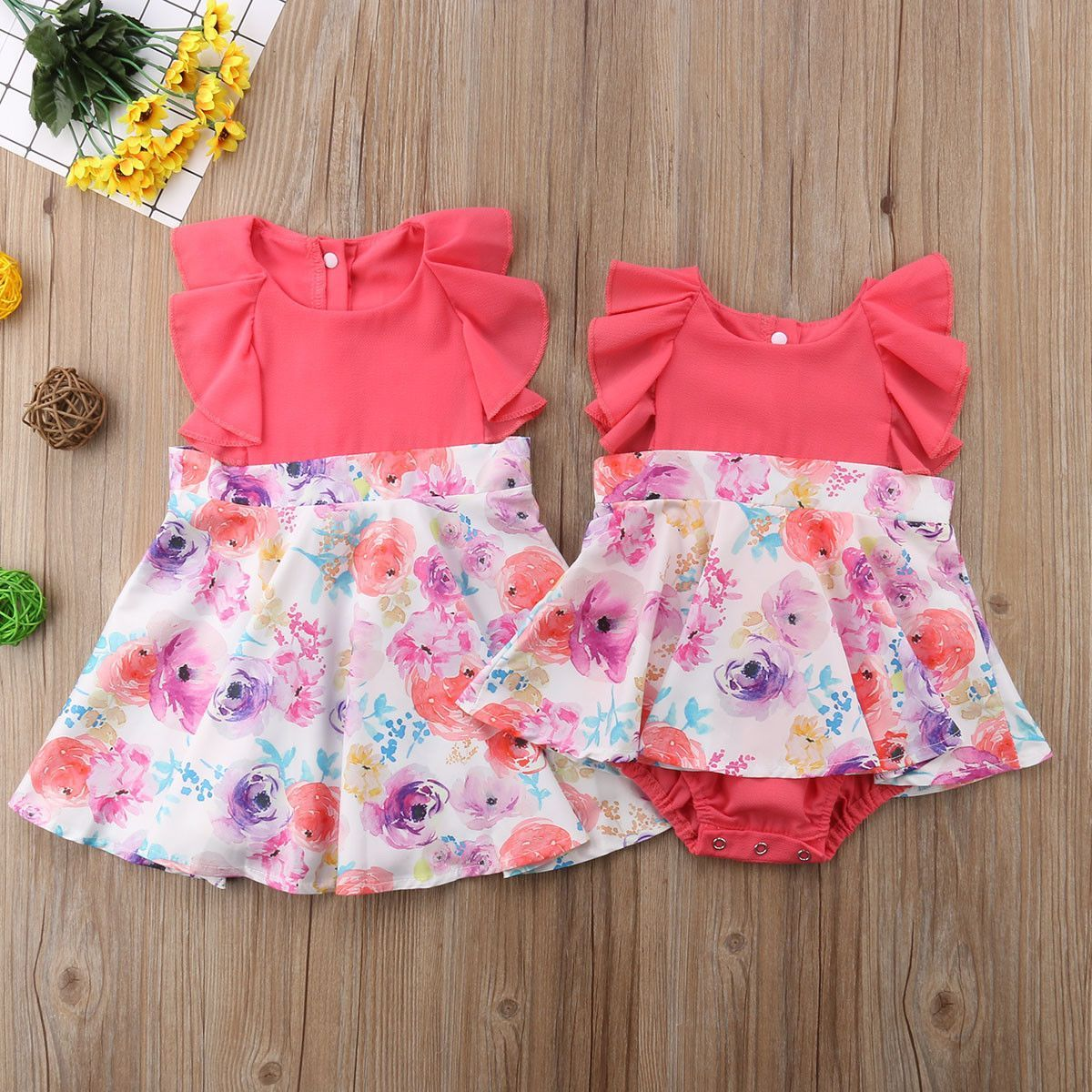 a53ebf8da65d Matching Coral Flower Sister Outfits