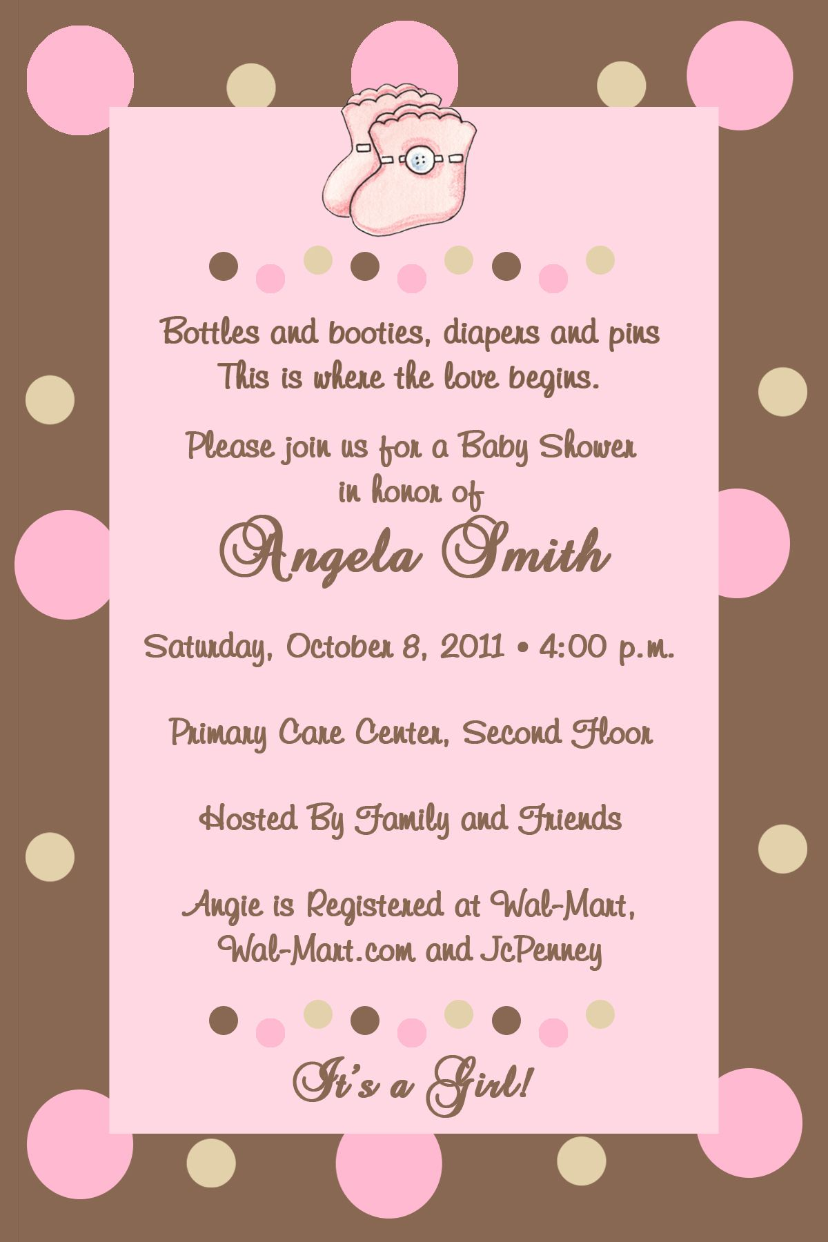 Chocolate And Pink Baby Shower Invitations