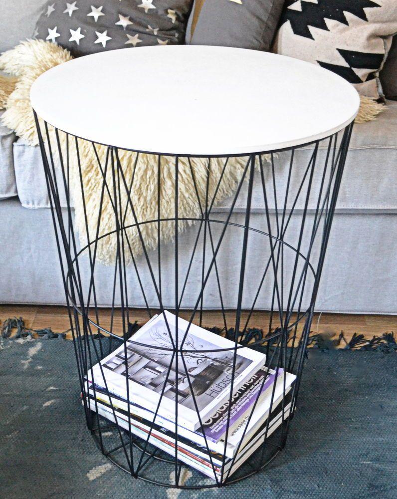 Xl Design Tisch Beistelltisch Drahtkorb Korb Metall Schwarz