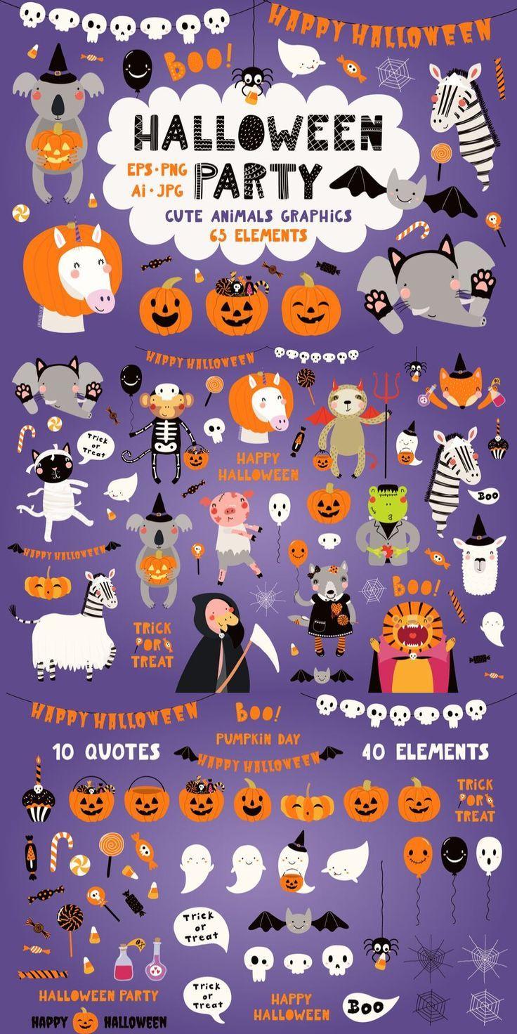 30+ Cute Halloween Animals Clipart
