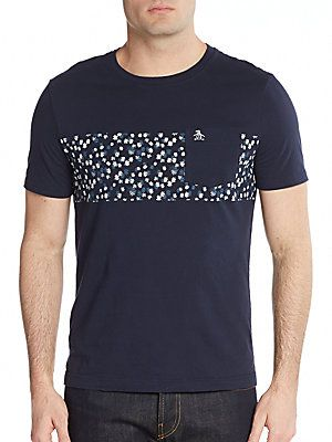ee920130 Original Penguin Floral-Print Band Cotton Tee - Dark Sapphire - Size ...