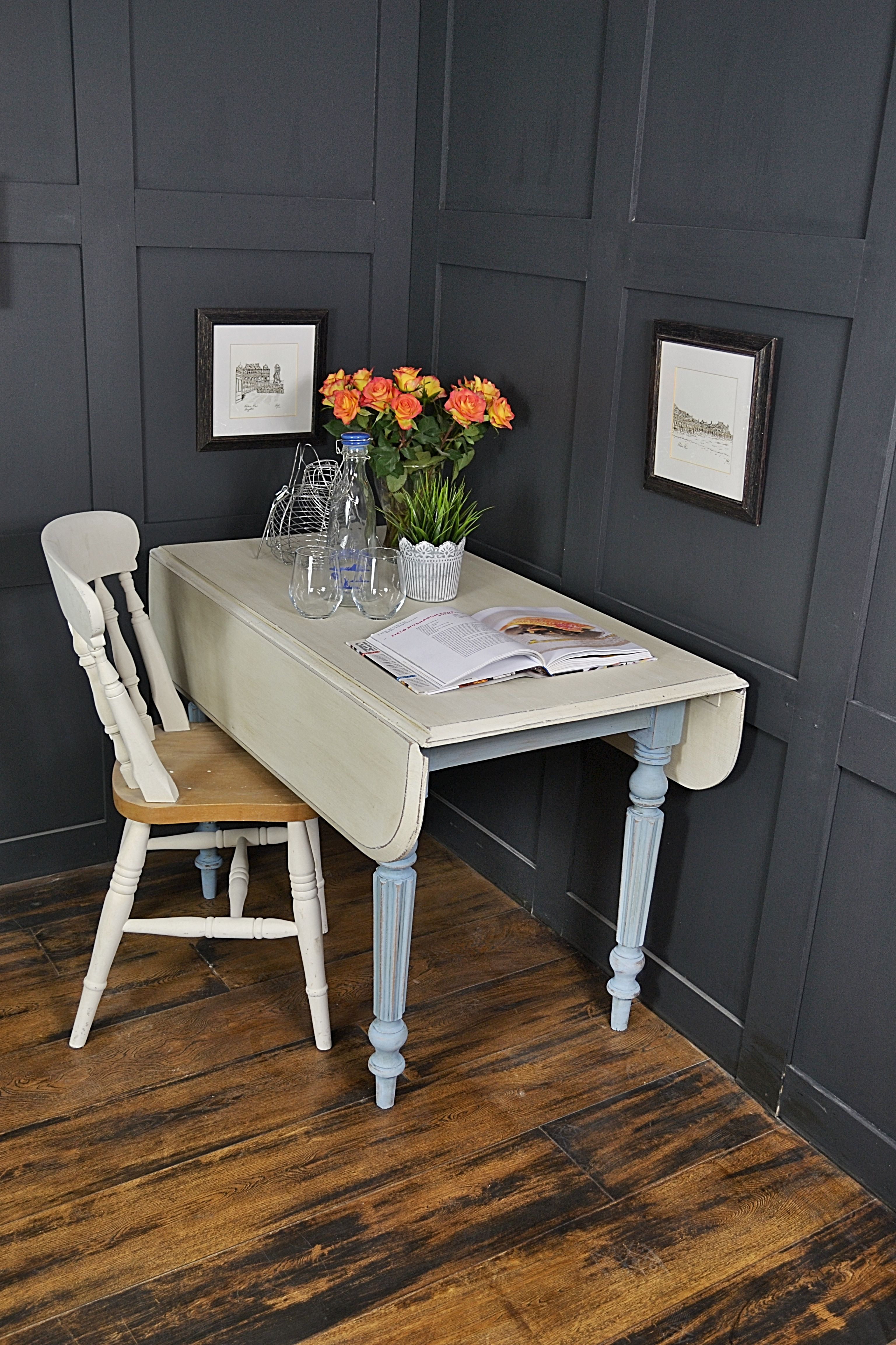 Painted pine farmhouse kitchen table by distressed but not forsaken - When Leaves Are Extended This Table Can Seat 4 People But Then Drop Down To Easily Store Away We Ve Painted