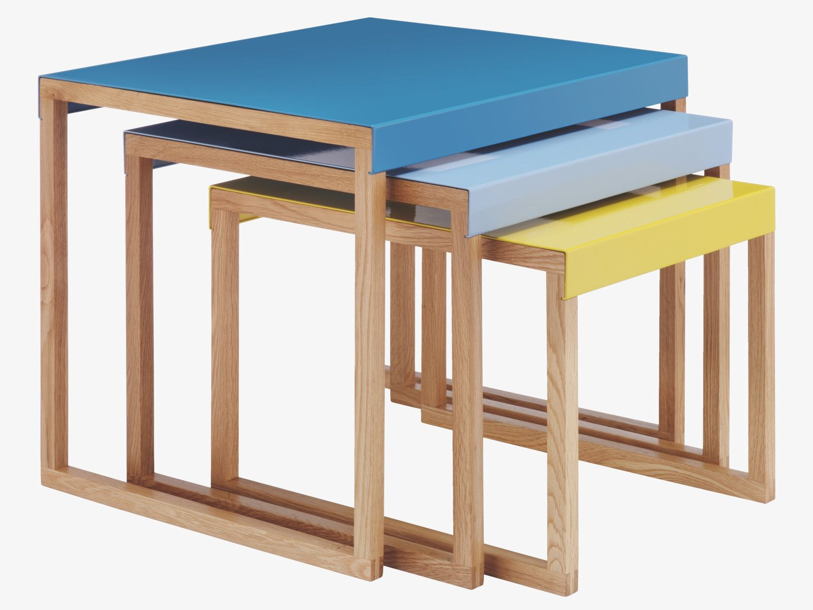 Kilo blue and yellow metal nest of side tables nest tables and