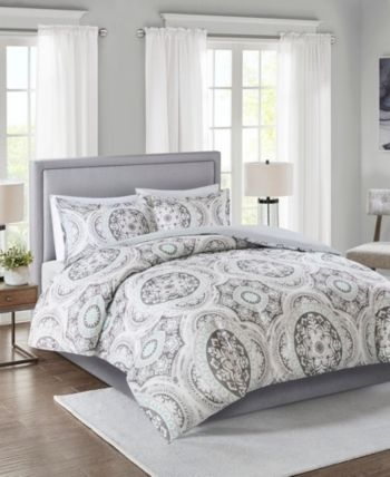 Madison Home Usa June King California King 3 Piece Cotton Medallion Print Duvet Cover Set Bedding Duvet Cover Sets California King Duvet Cover Duvet Covers