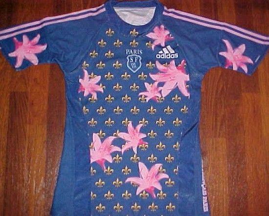 adidas Paris SF Stade Francais Blue Pink Floral Rugby Men's