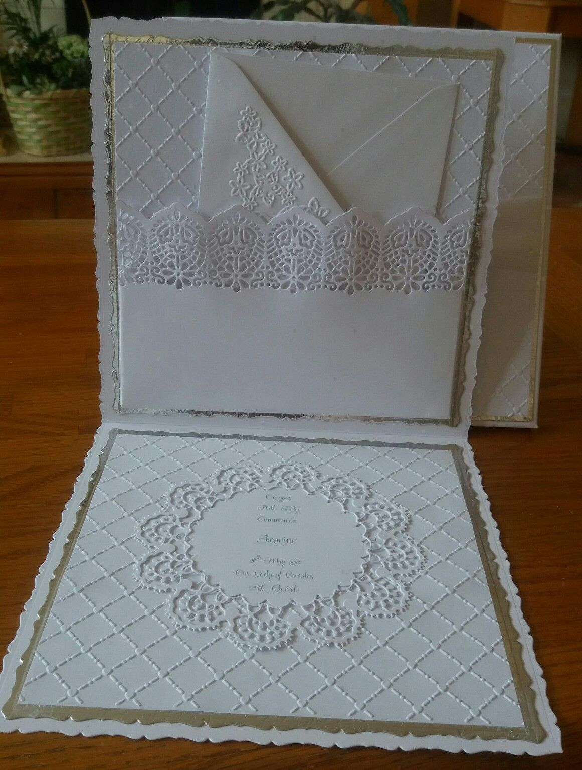 Inside of first Communion card. I made a pocket to hold a gift envelope.