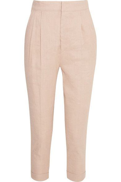 Isabel Marant Woman Neyo Linen-blend Tapered Pants Pastel Pink Size 42 Isabel Marant v0zQMBeS