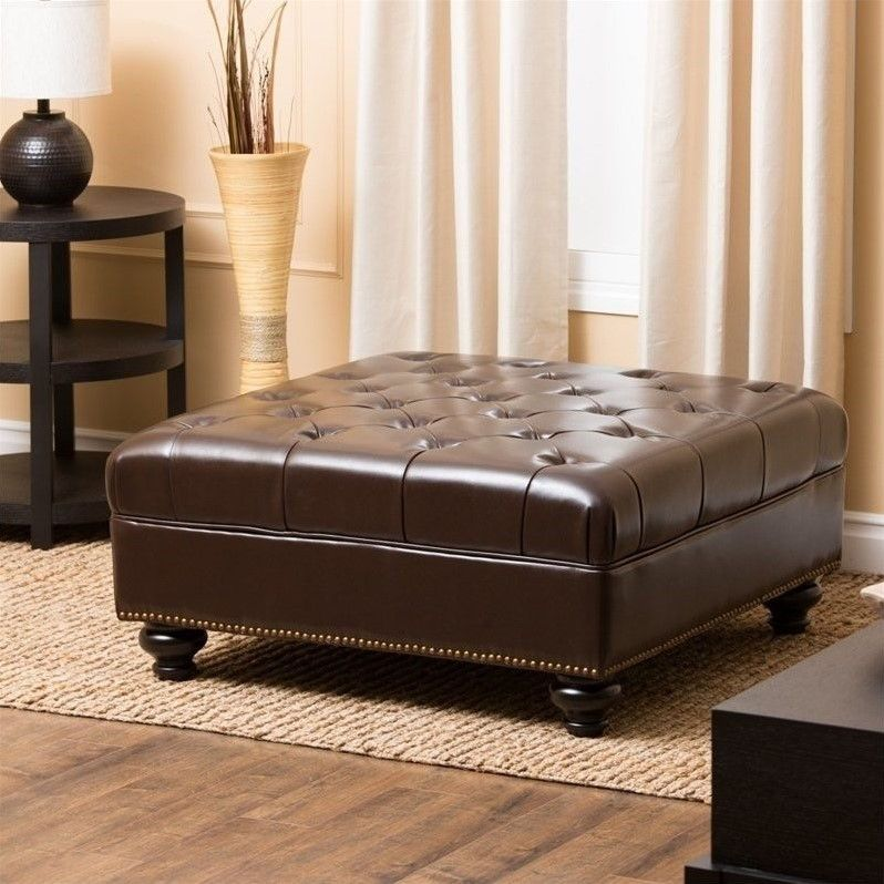 Marvelous Abbyson Oreana Leather Ottoman Coffee Table In Dark Brown Bralicious Painted Fabric Chair Ideas Braliciousco