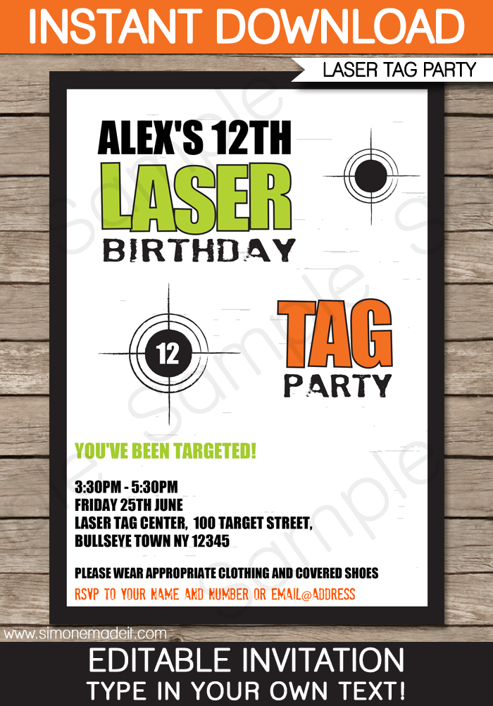 Laser Tag Invitation Template – green/orange | boy birthday parties ...
