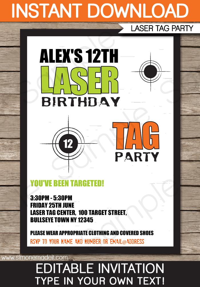 Laser Tag Invitation Template greenorange – Laser Tag Birthday Invitations Free