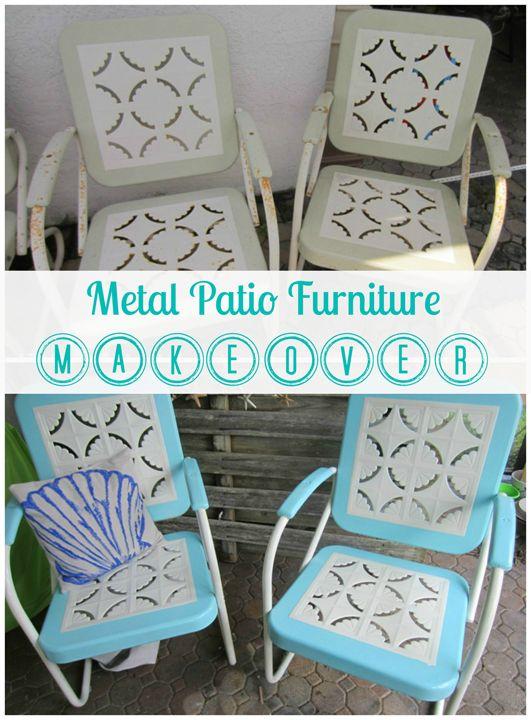 DIY Peindre des sièges en métal pour l'extérieur. (Metal Patio Furniture makeover by ALittleClaireification.com /  @ALittleClaire #furniture #restoration #makeover) (http://alittleclaireification.com/2013/06/17/metal-patio-furniture-makeover-a-restoration-hardware-rescue/)