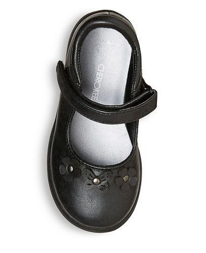 NEW Cherokee Girls Black Mary Jane Ballet Flat Shoes with Butterfly /& Flower