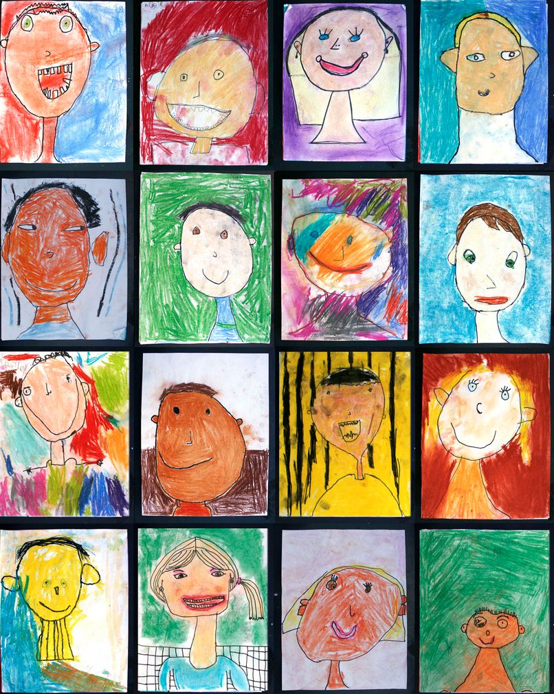 How about: on one page, a photograph. On the other page, a capture of how the child sees herself, done with paints or coloured pencils or crayon or whatever she likes. Use the hand-drawn to style the photograph, and display side-by-side.