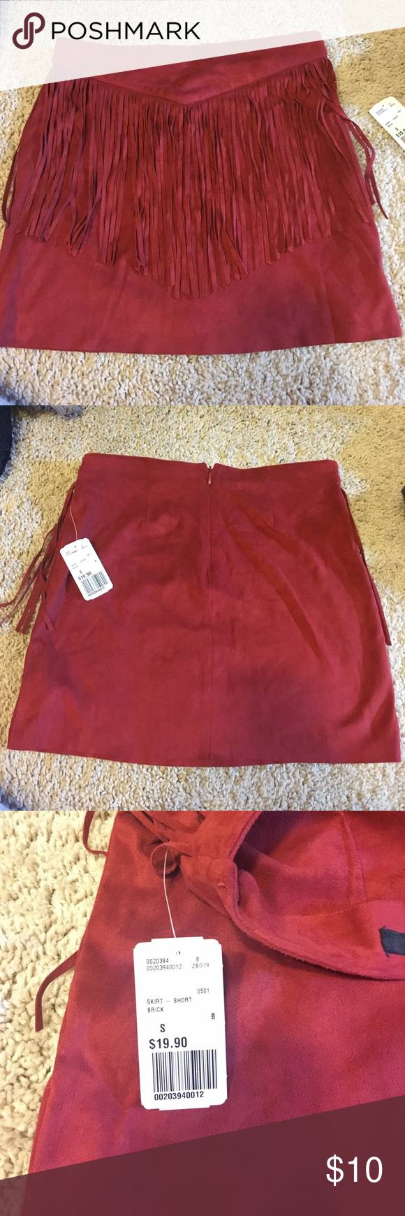 Suede fringe red skirt Never worn super cute suede fridge skirt! Tag still attached Forever 21 Skirts Mini