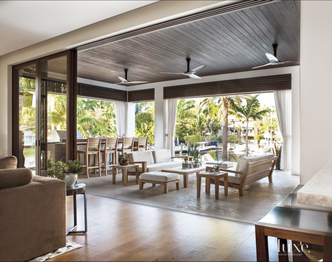 A Contemporary Island Inspired Miami Home Outdoor Living Miami Houses Outdoor Rooms