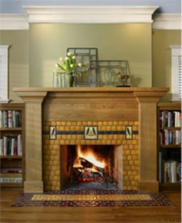 Wood Yellow Tile Fireplace Craftsman Home Interiors Craftsman Fireplace Craftsman Tile