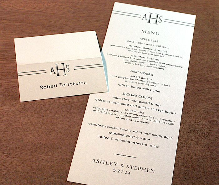 Monogrammed Black Tie Wedding Reception Menu And Place Card For A