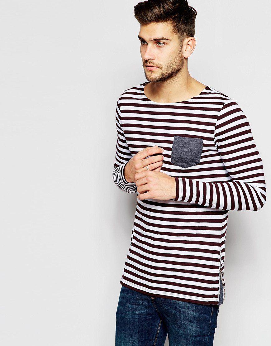83bc108e30428 Imagen 1 de Camiseta larga de rayas de manga larga con cremallera lateral y  panel en contraste de ASOS