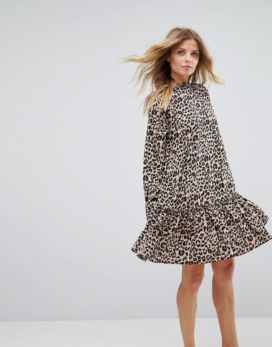 41e7987571 ASOS Smock Pep Hem Dress In Leopard Print - Multi
