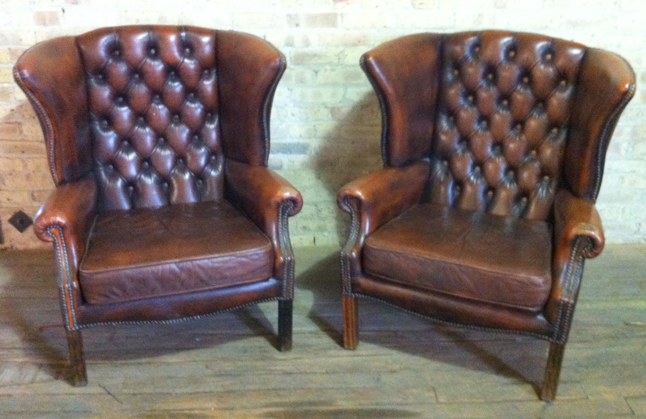 Brown Leather Wingback Chair Pair Brown Leather Wingback Chairs 1600 Chicago Http