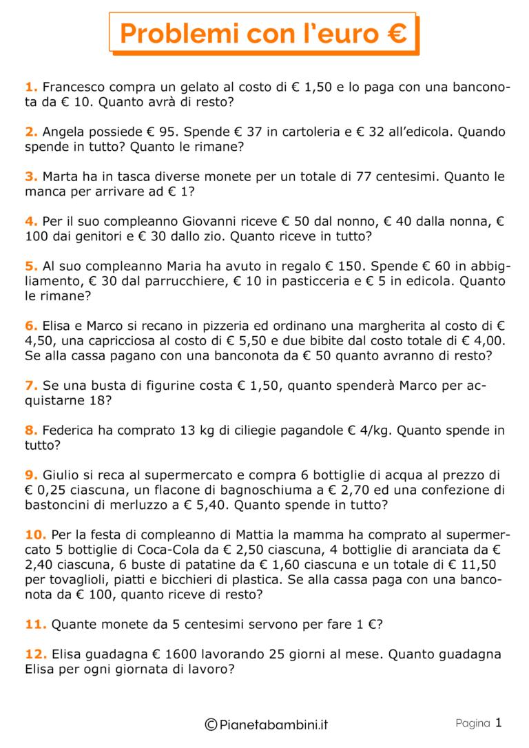 20 Problemi con l'Euro per la Scuola Primaria | Schede di ...