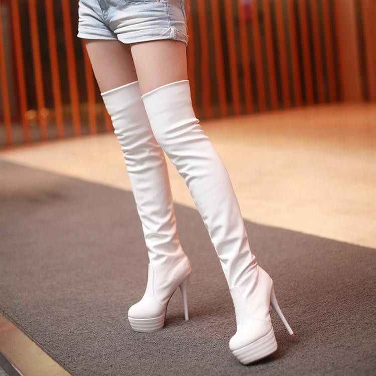 2013 Winter White Thigh High Red Bottom Platform Leather Boots ...