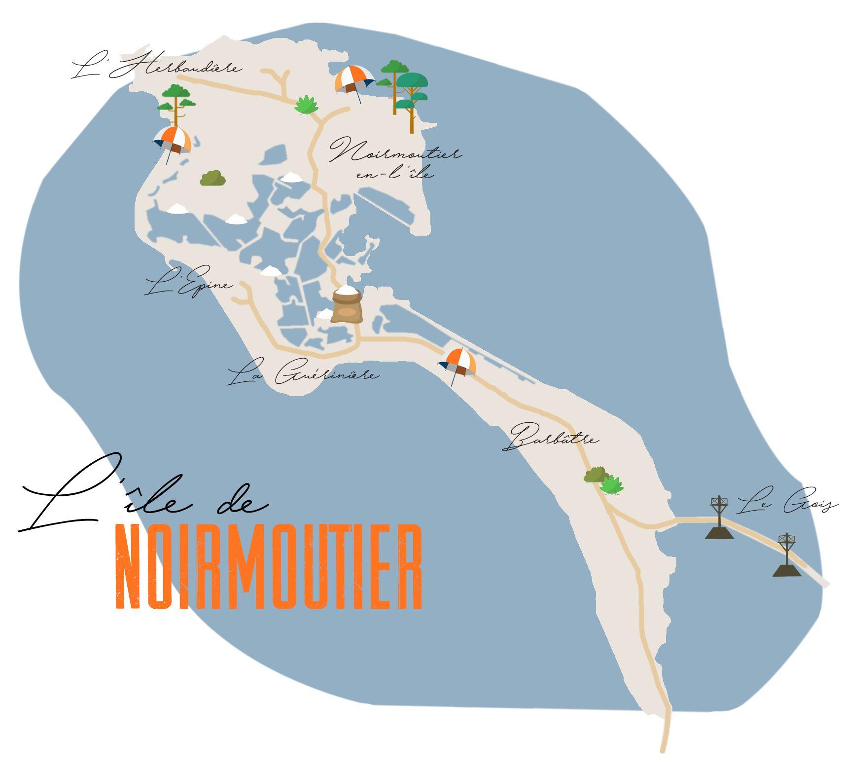 carte-de-noirmoutier-v2-le-carnet-a-pois | Ile de noirmoutier, Noirmoutier, Noirmoutier carte
