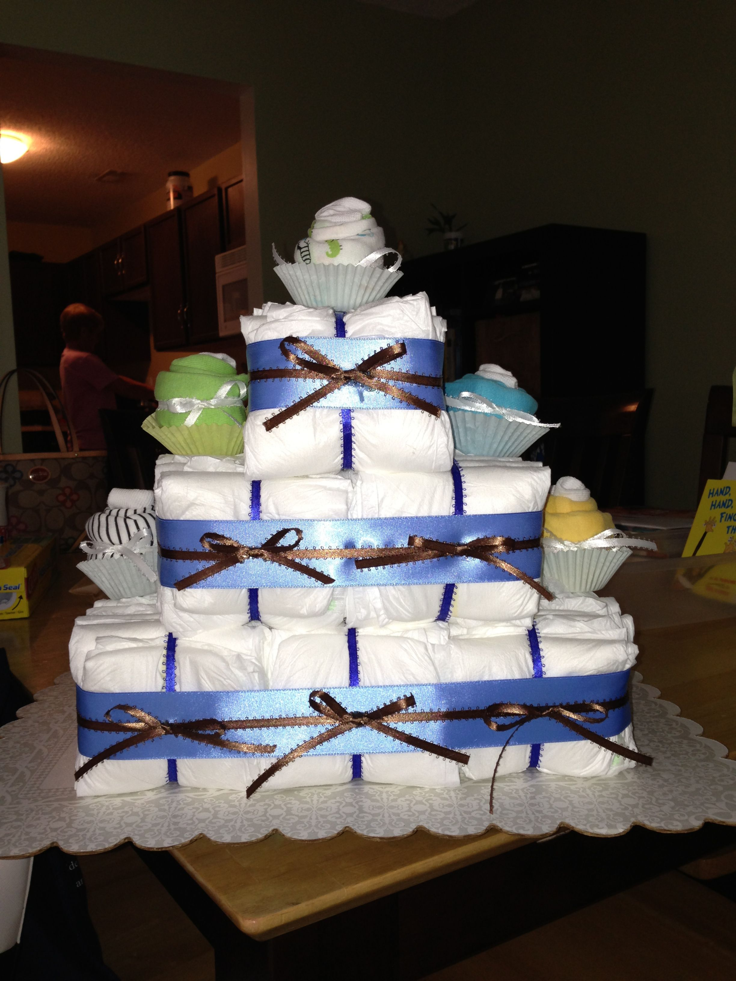 My First Square Diaper Cake Diaper Cake Cake Shower Gifts