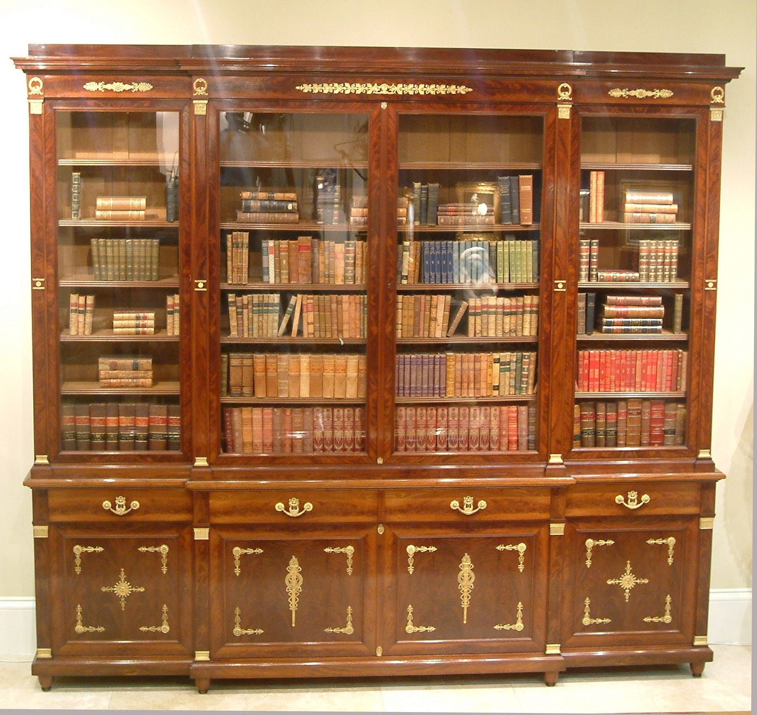 A Fine Antique Library Breakfront Bookcase By Antoine Krieger, Of