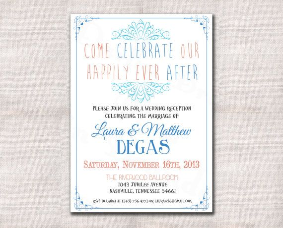 After the Wedding Party Invitations or Elopement Party Invitations – Wedding Party Invitation