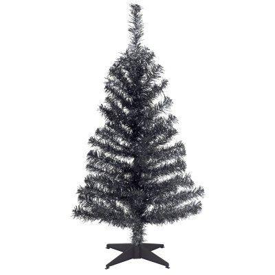 3 ft. Black Tinsel Unlit Full Christmas Tree - TT33-704-30-1, Durable