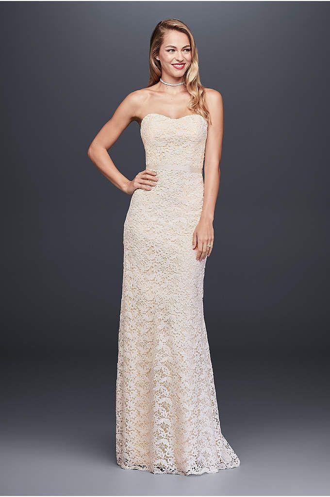 Guipure Lace Sheath Wedding Dress with Ribbon Sash - Fresh, pretty ...