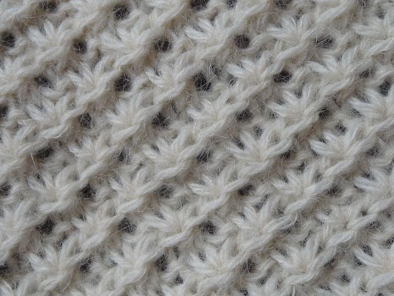 250907ce698 Point tricot   le point de la mariée Sur un nombre multiple de 4 +1 +1m.  lis. à chaque extrémité