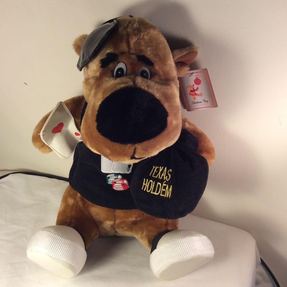 "Shalom Toy Plush Dog Card Dealer Dressed Stuffed Animal Brown w/Money Bag 14"" #ShalomToy"