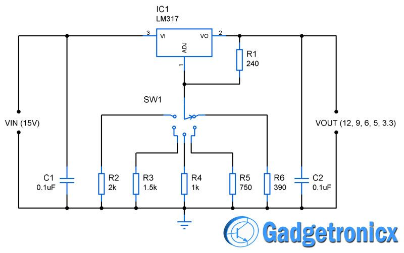 12V, 9V, 6V, 5V  33V multiple voltage power supply circuit