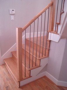 2 Round Red Oak Handrail Newel Posts 1 Square Antique Nickel 3 By Houston Stair