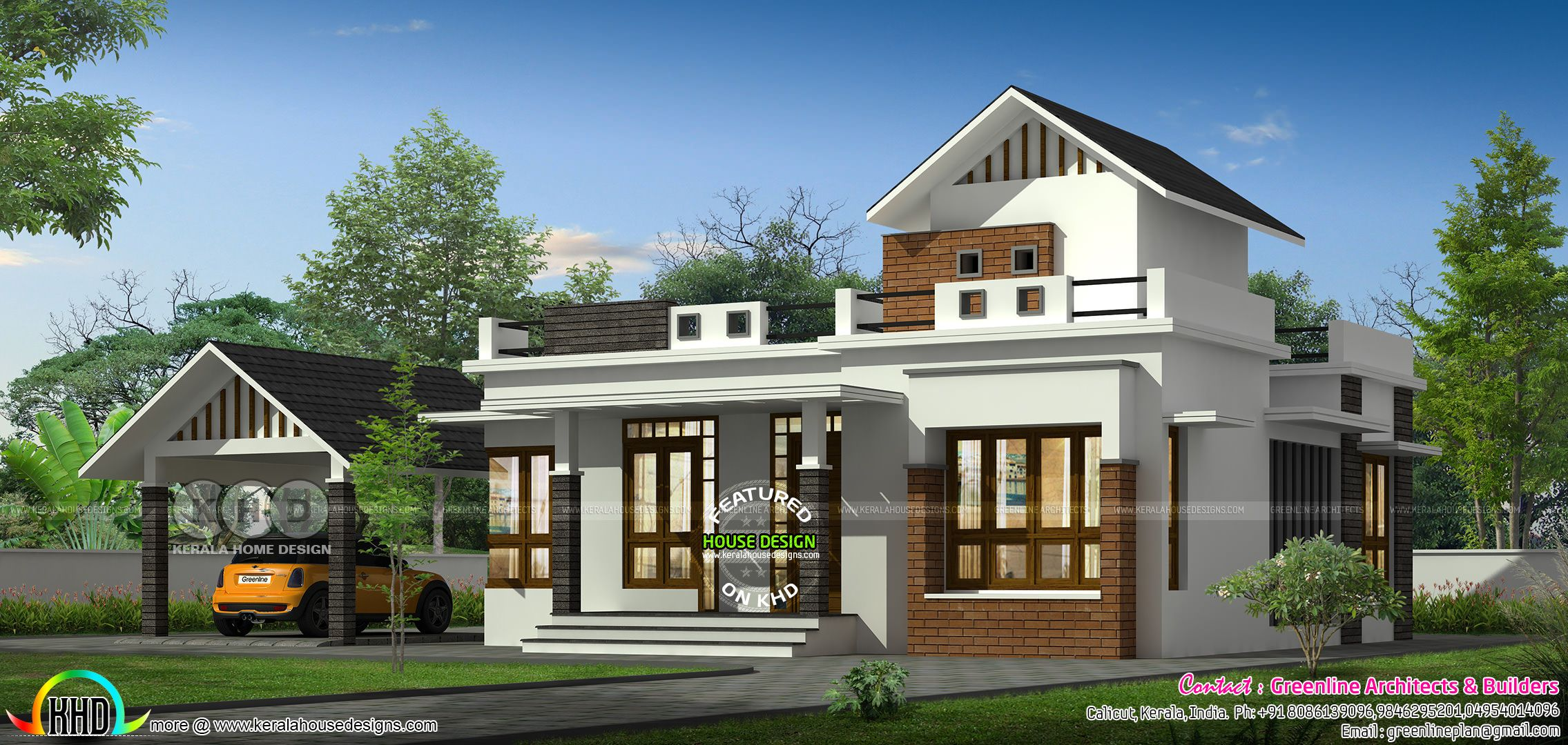 Single Floor House With Separate Car Porch Kerala House Design