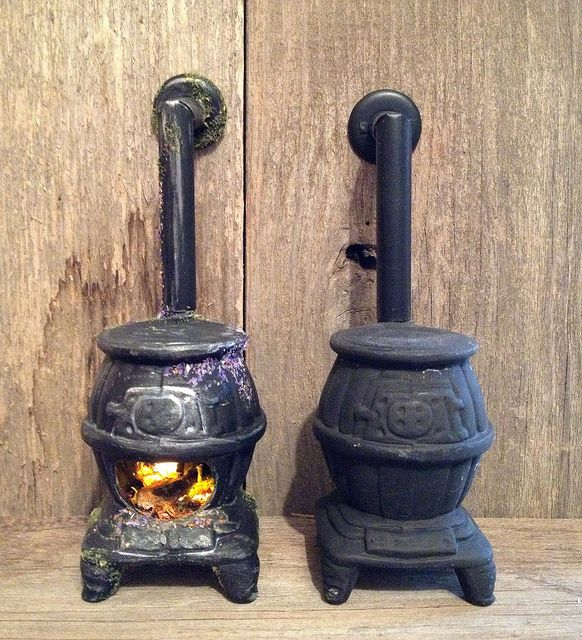 Tutorial: Fairy Dollhouse Wood Stove - I started with a Sonia Messer  vintage ceramic wood - Tutorial: Fairy Dollhouse Wood Stove - I Started With A Sonia