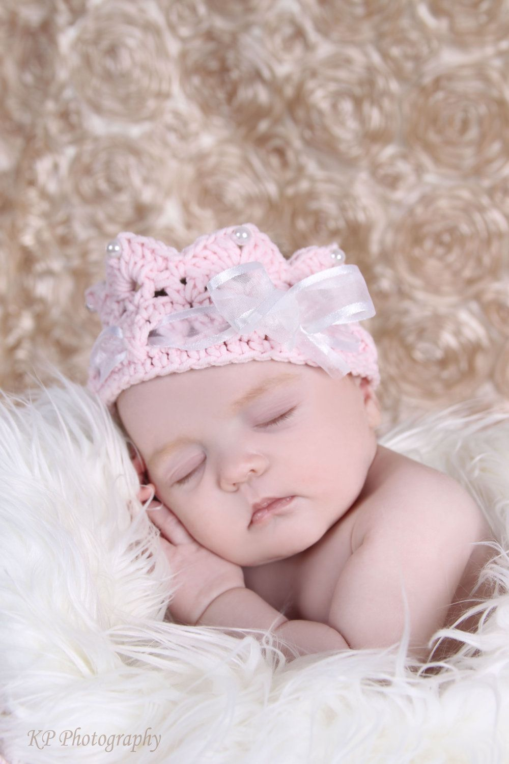 Pink Baby crown with ribbons and pearls, baby photography prop, newborn to toddler. $14.99, via Etsy.