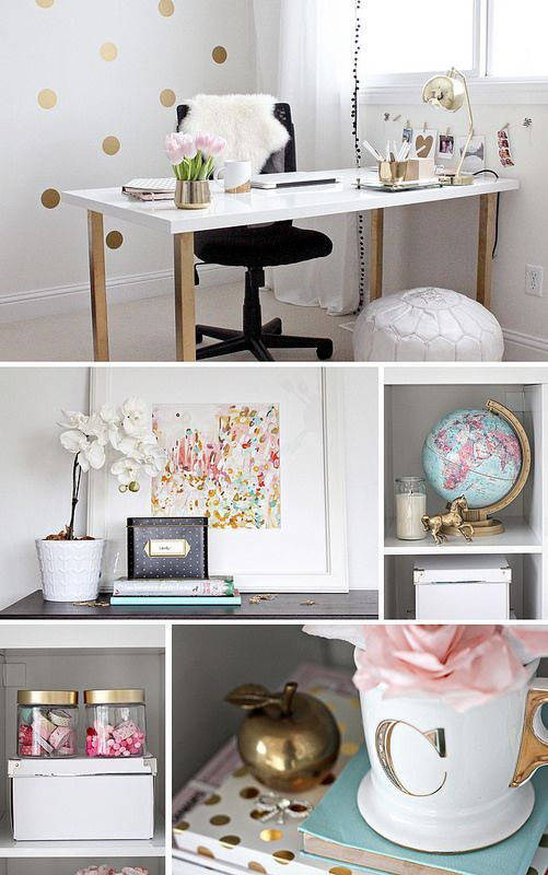 Gold Pink Home Office With The Letter